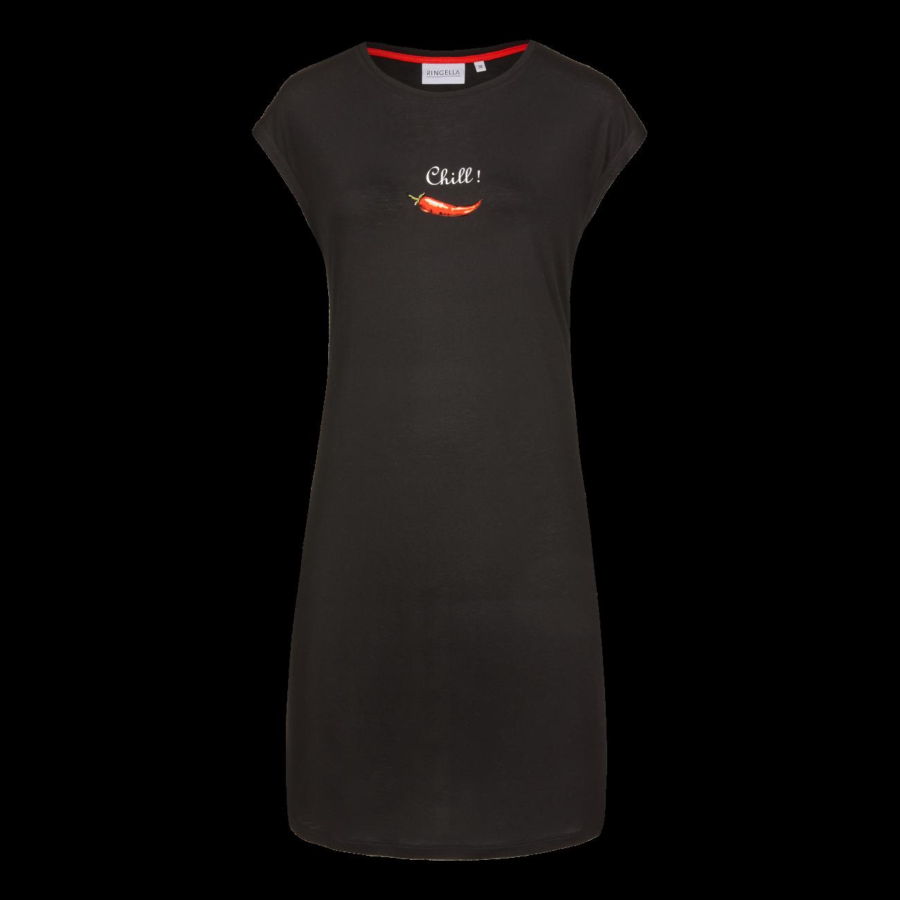 Nachthemd mit Motivdruck schwarz | 42