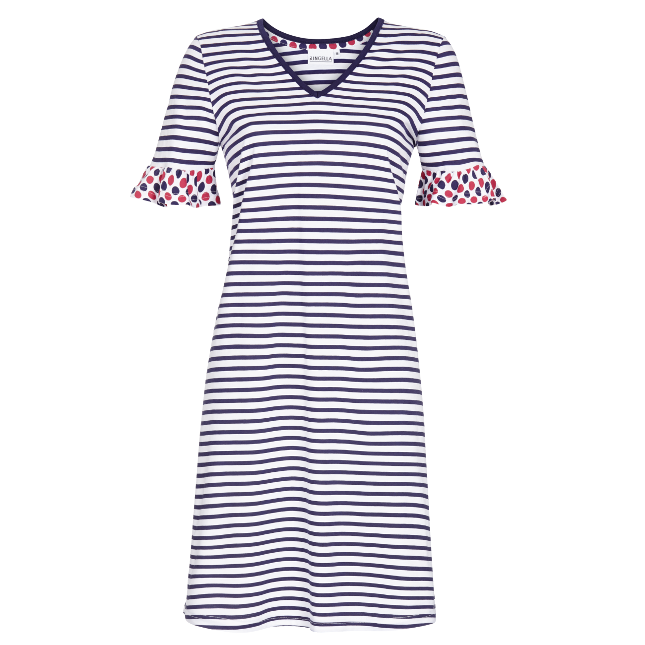 Nachthemd mit V-Ausschnitt marine | 46