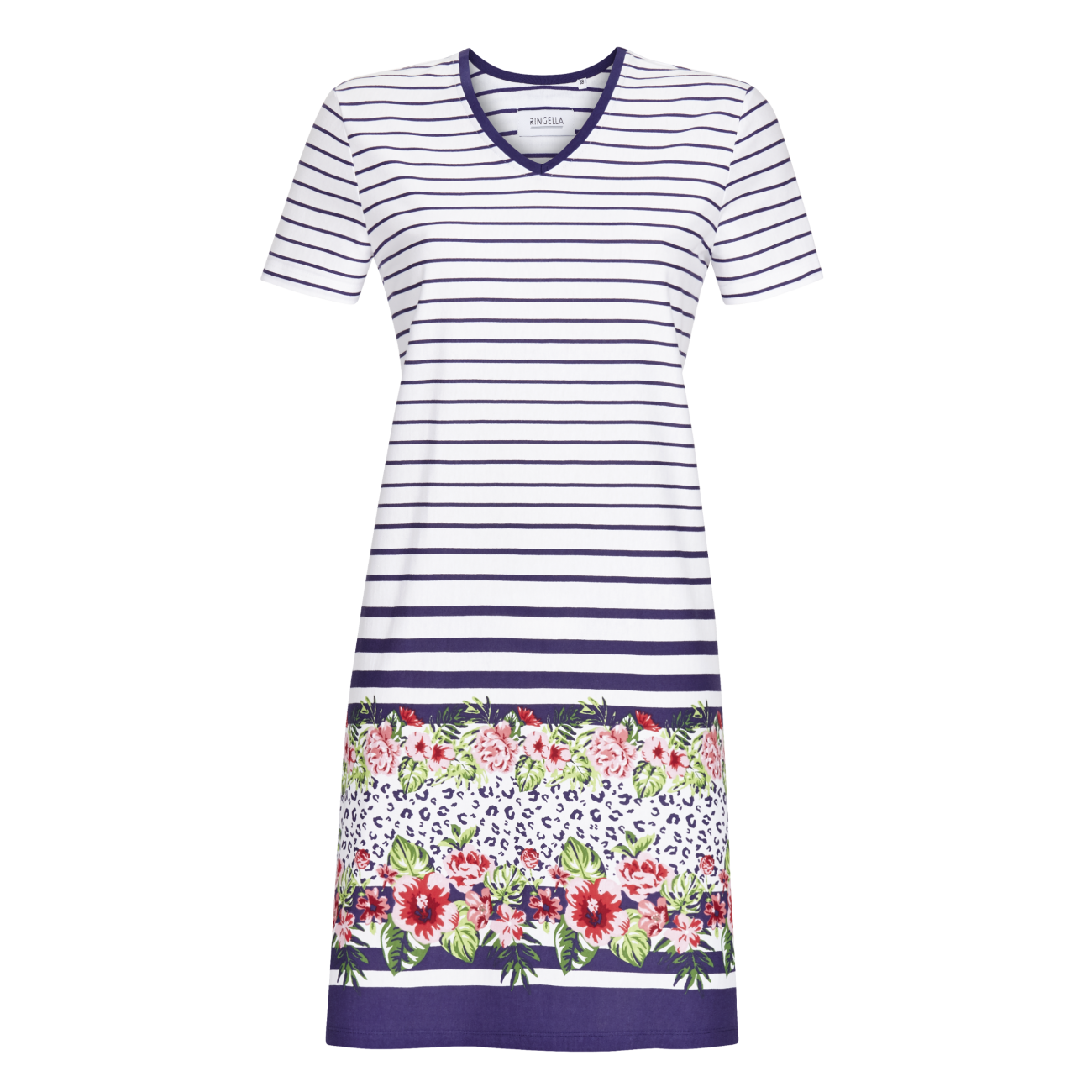 Kurzarmkleid mit Blumenbordüre marine | 44