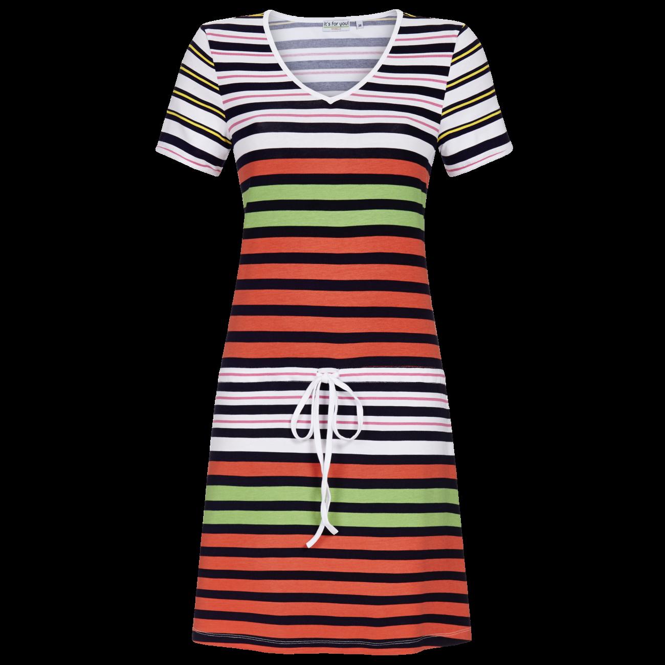 Kleid mit Tunnelzug und Bindeband bunt | 38