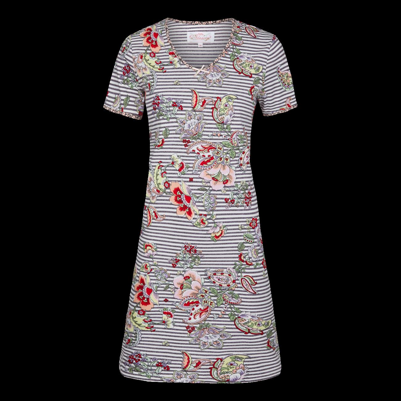 *Nachthemd geringelt mit Blumen schlamm | 36