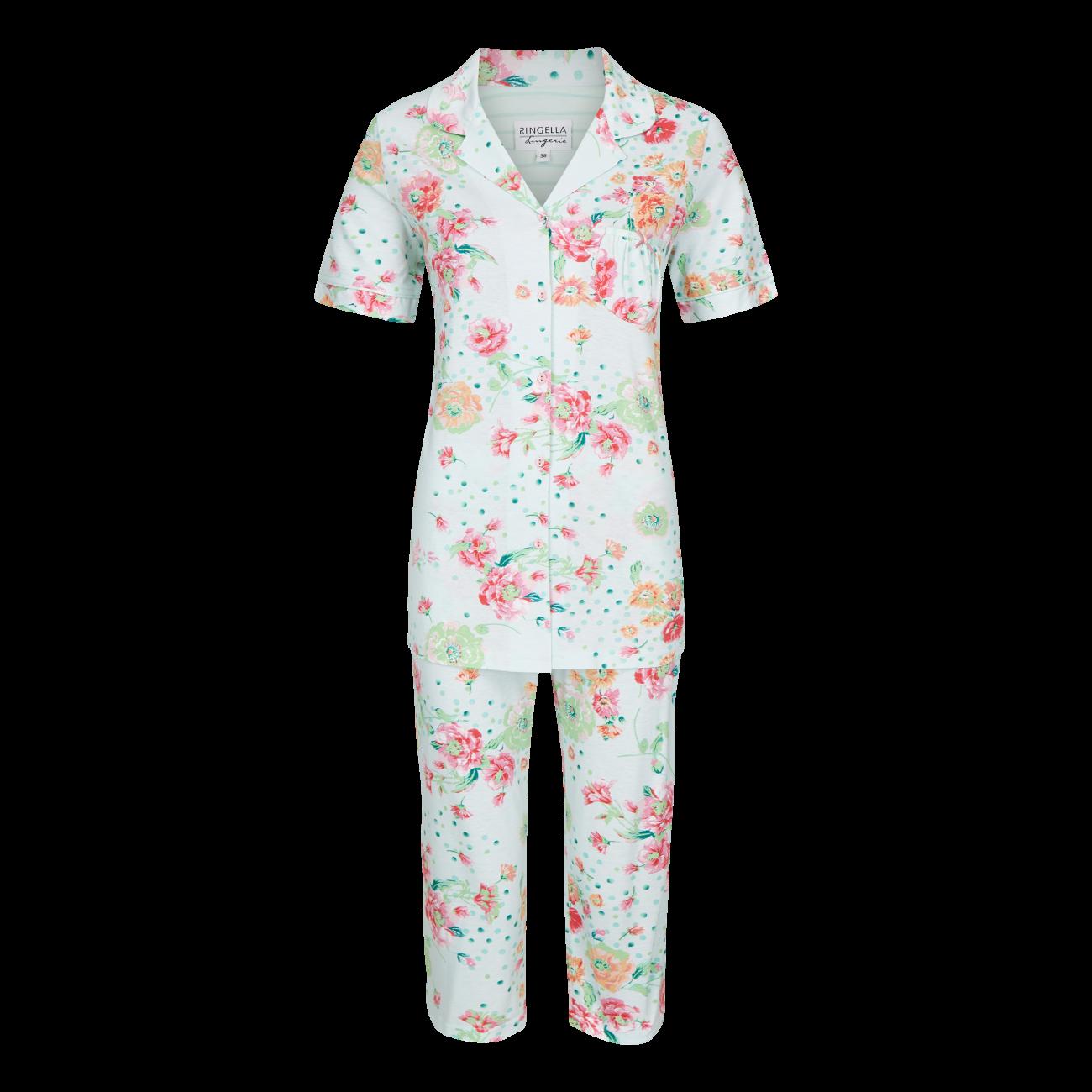 Pyjama mit Caprihose helle lagune | 38