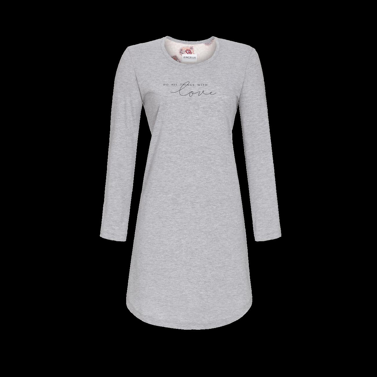 Nachthemd mit Schriftzug grau-melange | 40
