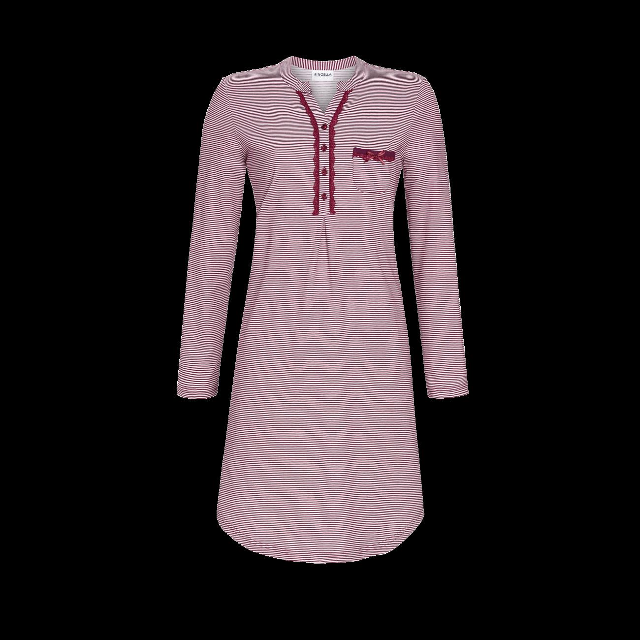 Nachthemd mit Knopfleiste bordeaux | 38