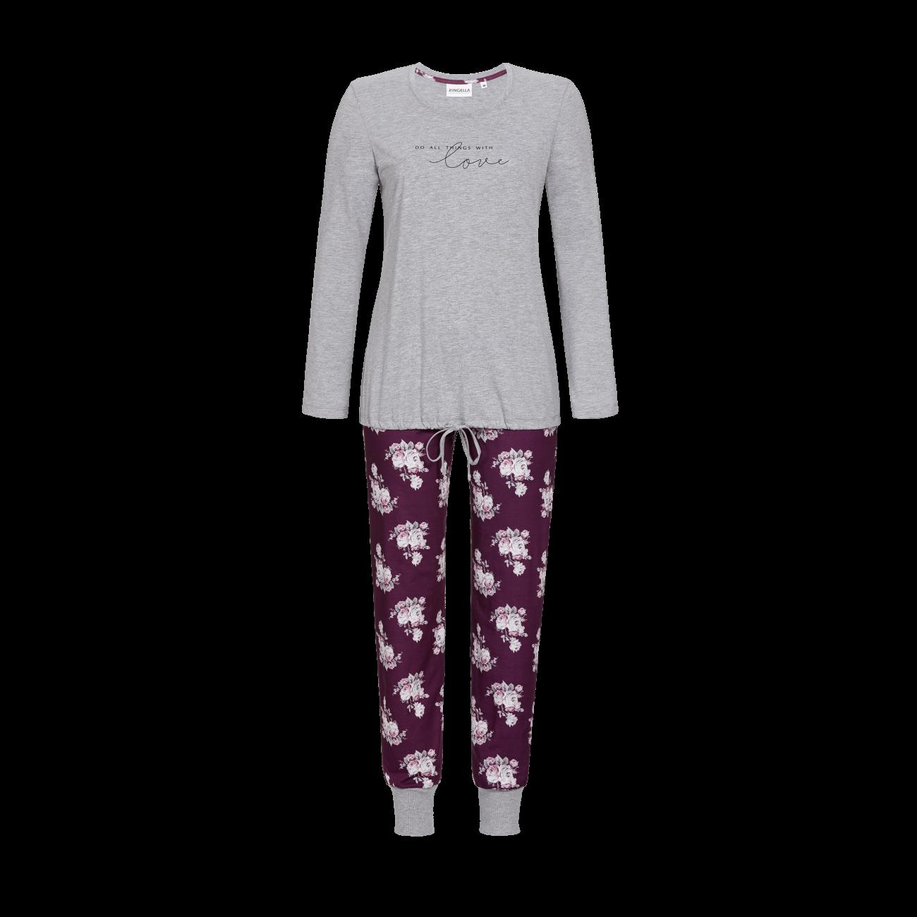 Pyjama mit Schriftzug grau-melange | 38