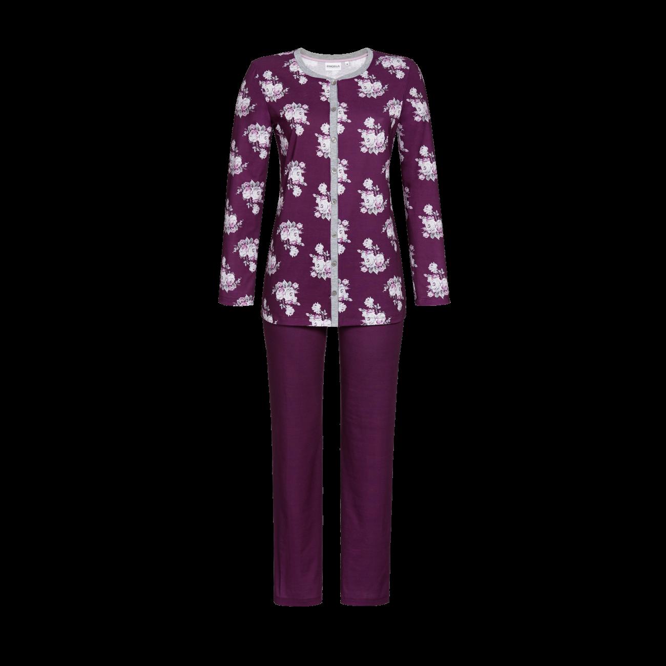 Pyjama durchgeknöpft bordeaux | 54