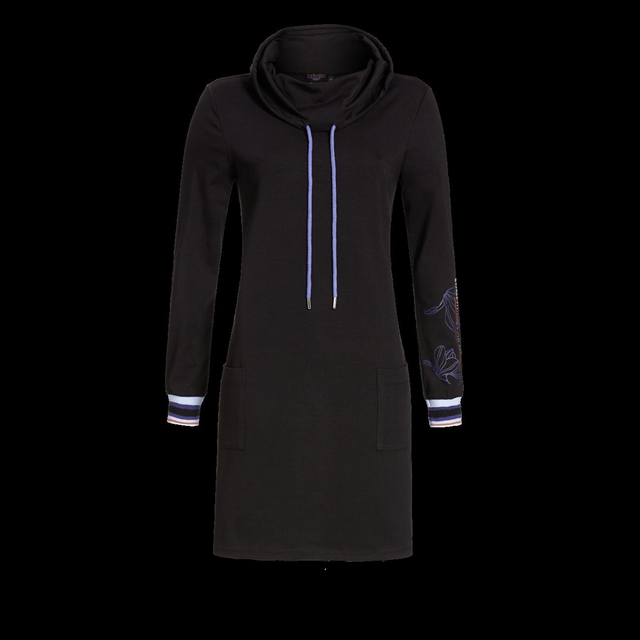 Kleid mit Stehkragen und Kordel schwarz | 42