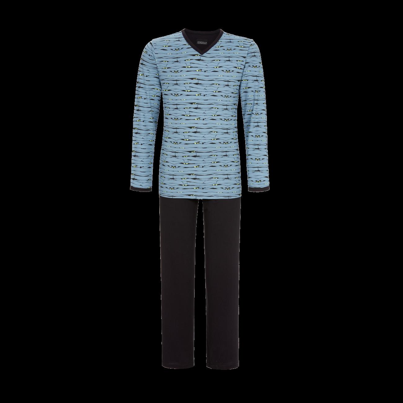 Pyjama mit V-Ausschnitt asia blue | 46