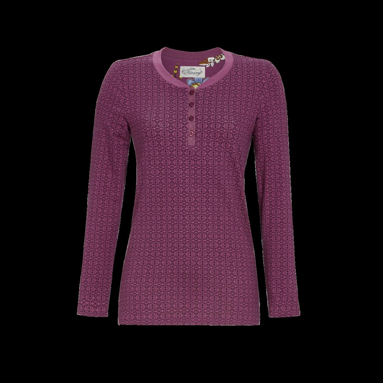T-Shirt mit kurzer Knopfleiste rosenholz   36