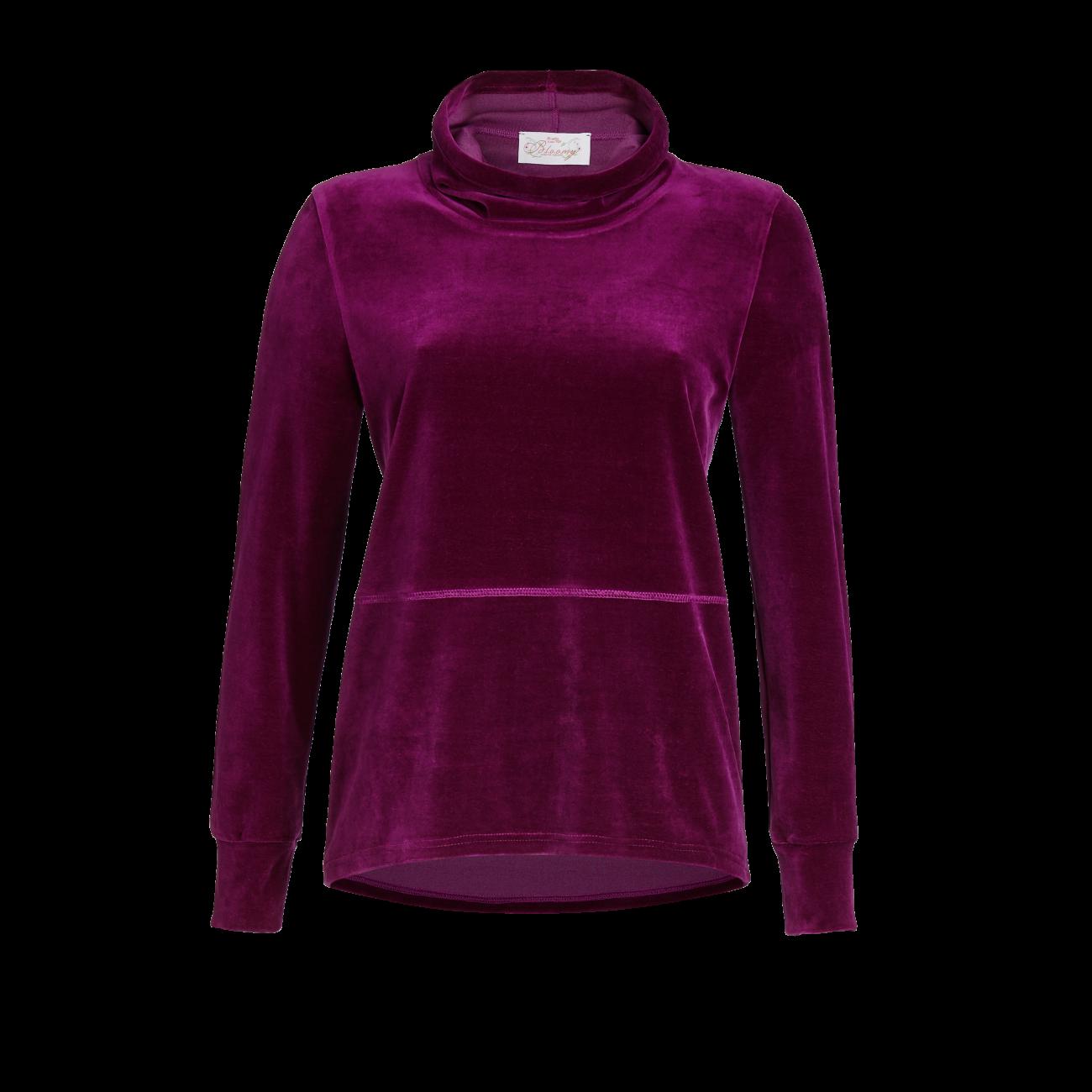 Pullover mit Stehkragen und Kordel burgund   42