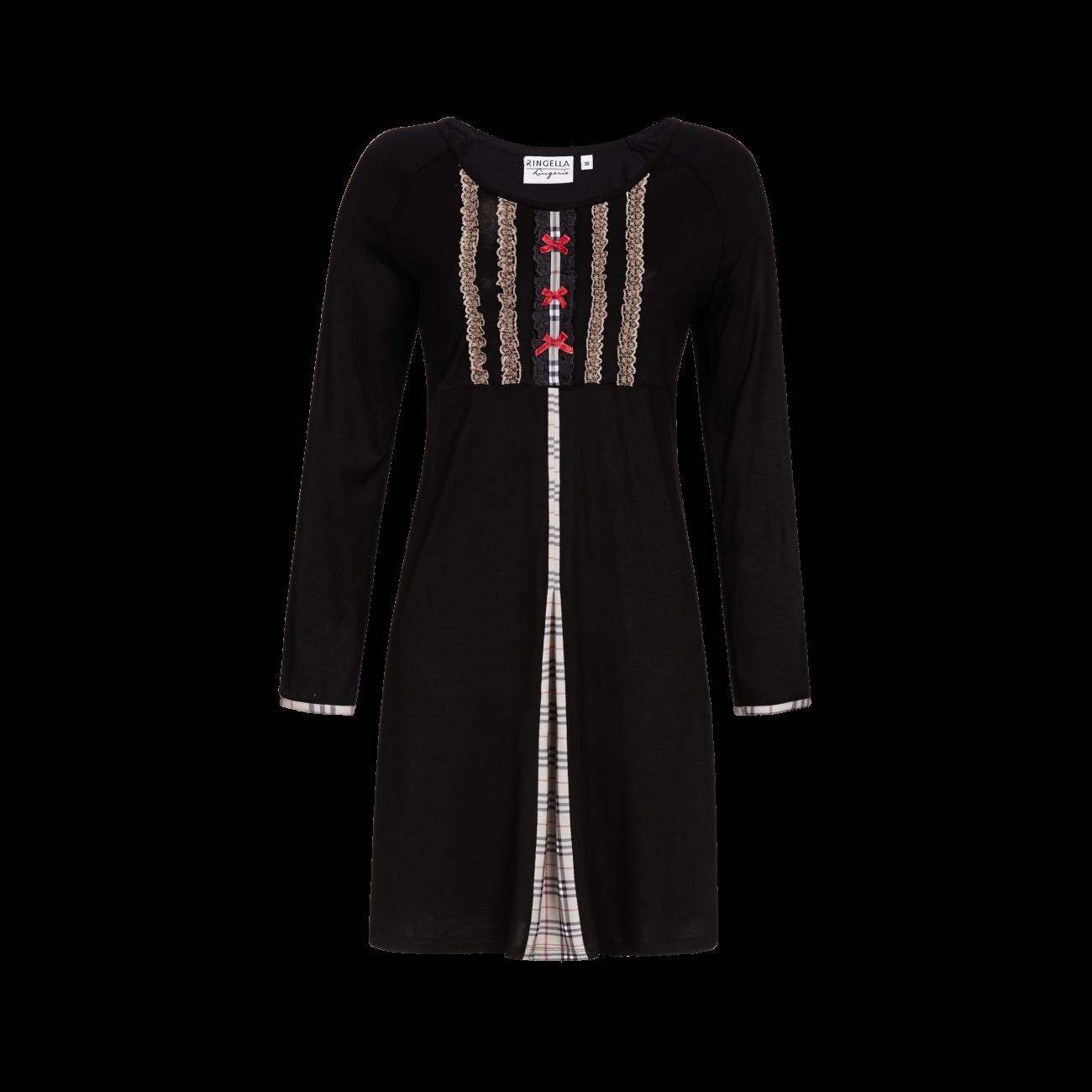 Nachthemd mit modischer Quetschfalte schwarz   36
