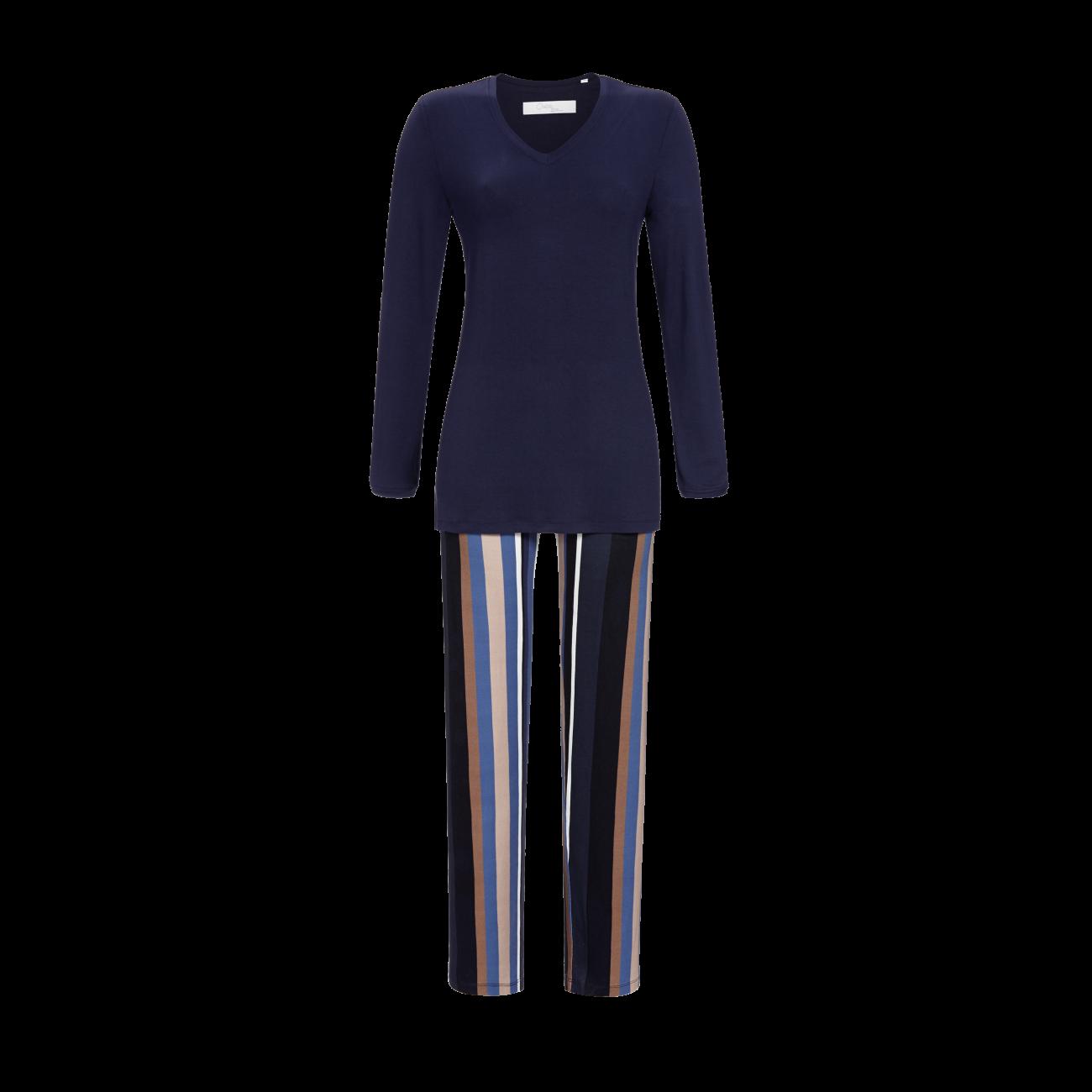 Pyjama mit V-Ausschnitt nachtblau | 40