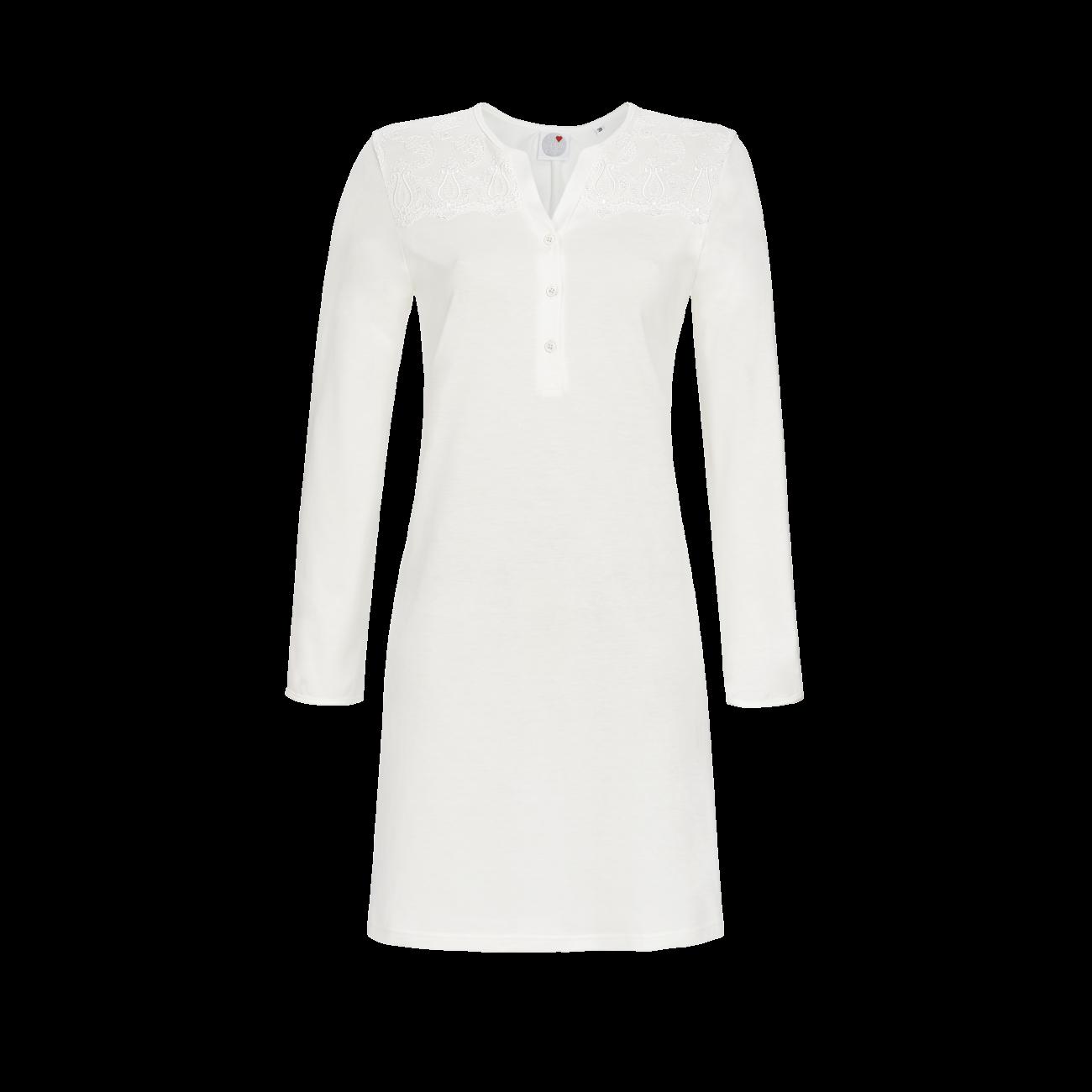 Nachthemd mit Spitzenpasse off-white | 40