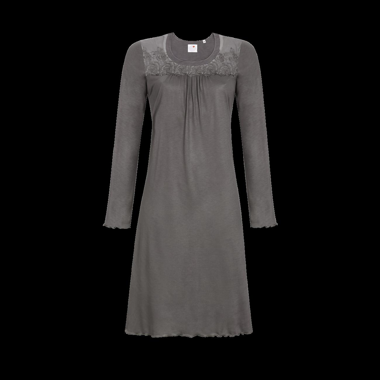 Nachthemd mit Tüll-Spitzenpasse taupe | 42
