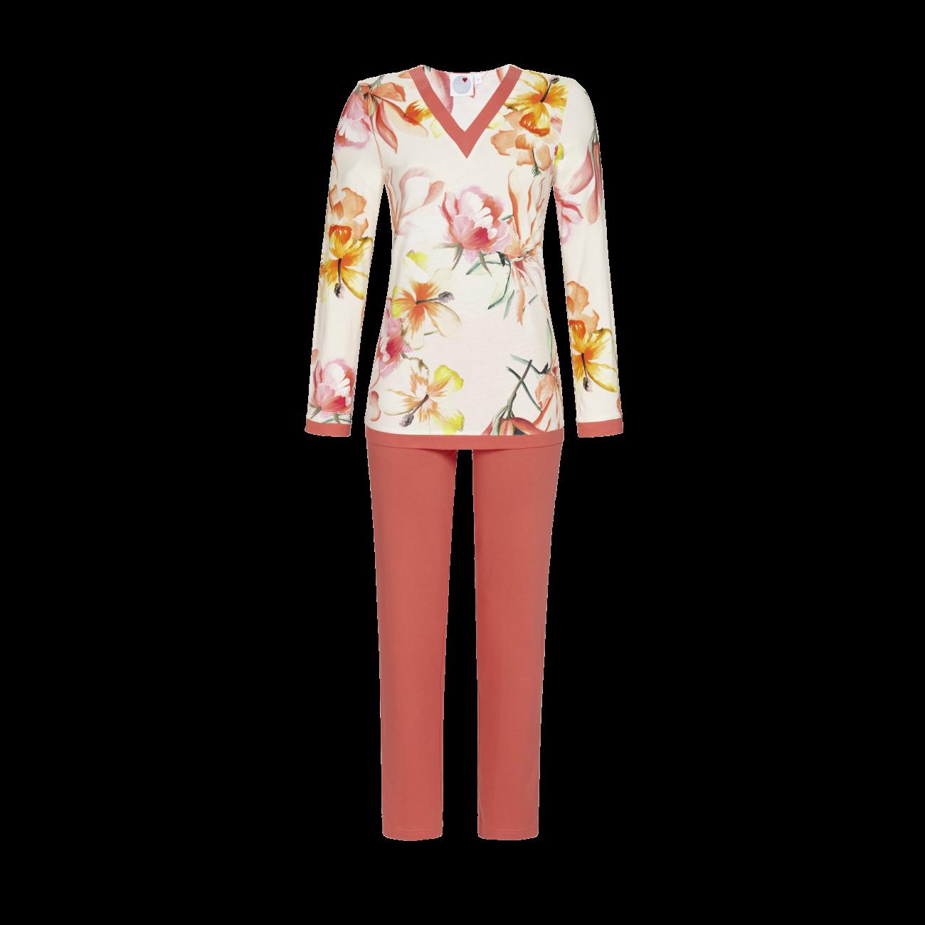 Pyjama mit V-Ausschnitt koralle   40