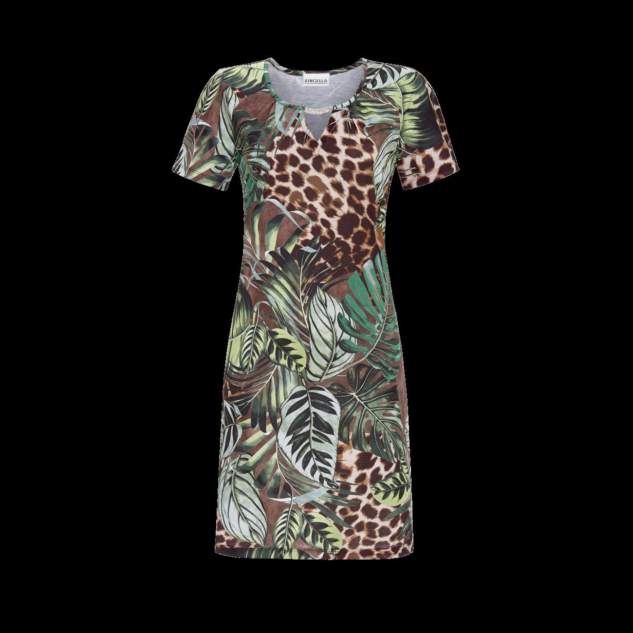 *Kleid mit Dschungel-Print bunt | 36