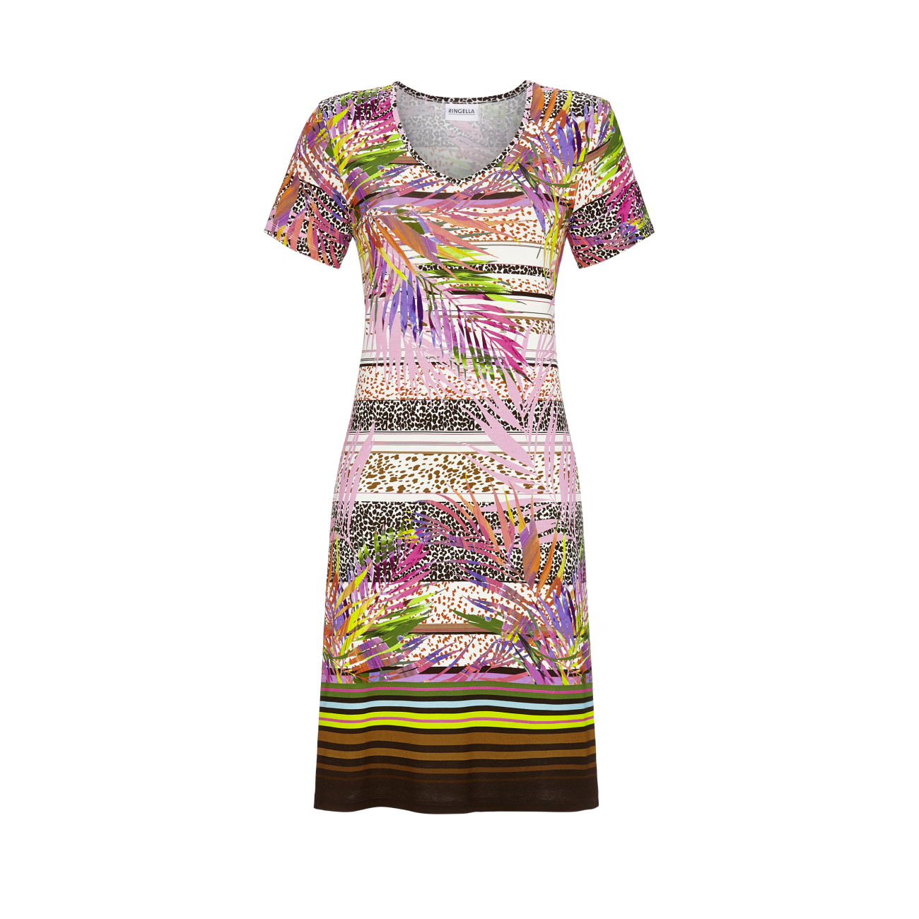 *Kleid mit V-Ausschnitt bunt | 52