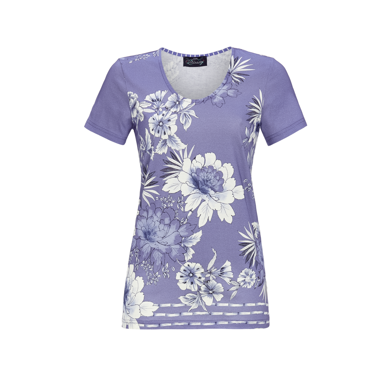 T-Shirt mit Blumenprint light denim | 38