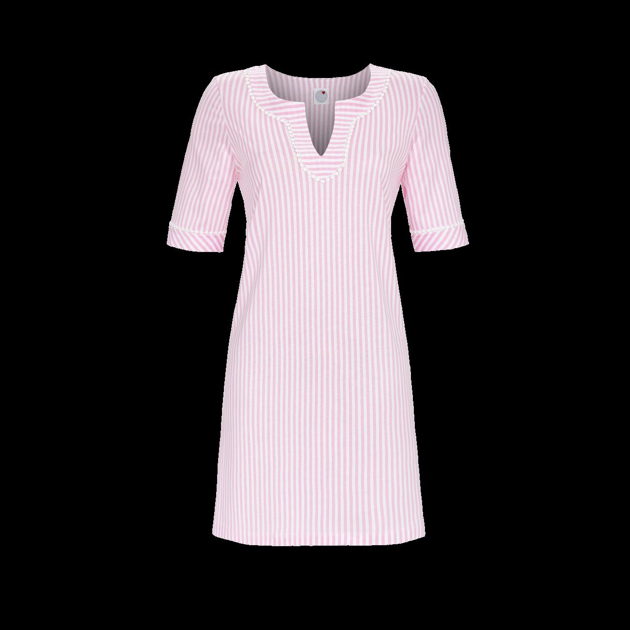 Tunika mit Streifendessin rosa | 46