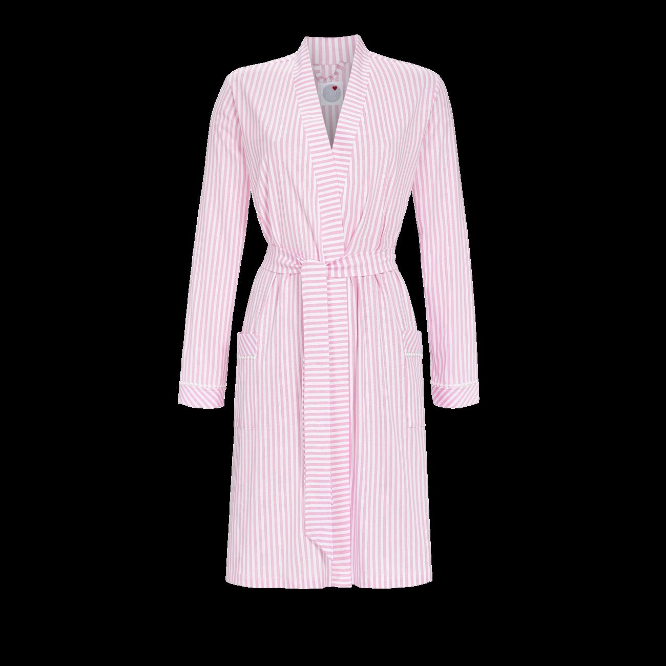 Morgenmantel mit Bindegürtel rosa   44