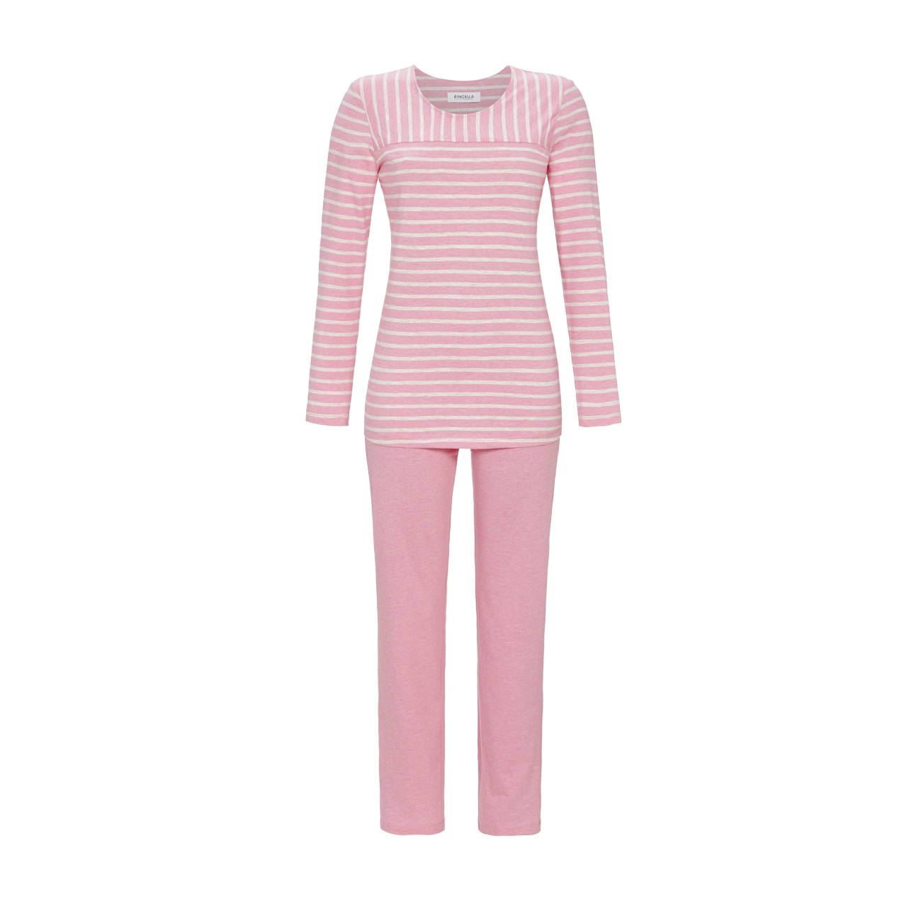 Pyjama mit geringeltem Oberteil himbeer-melange | 36