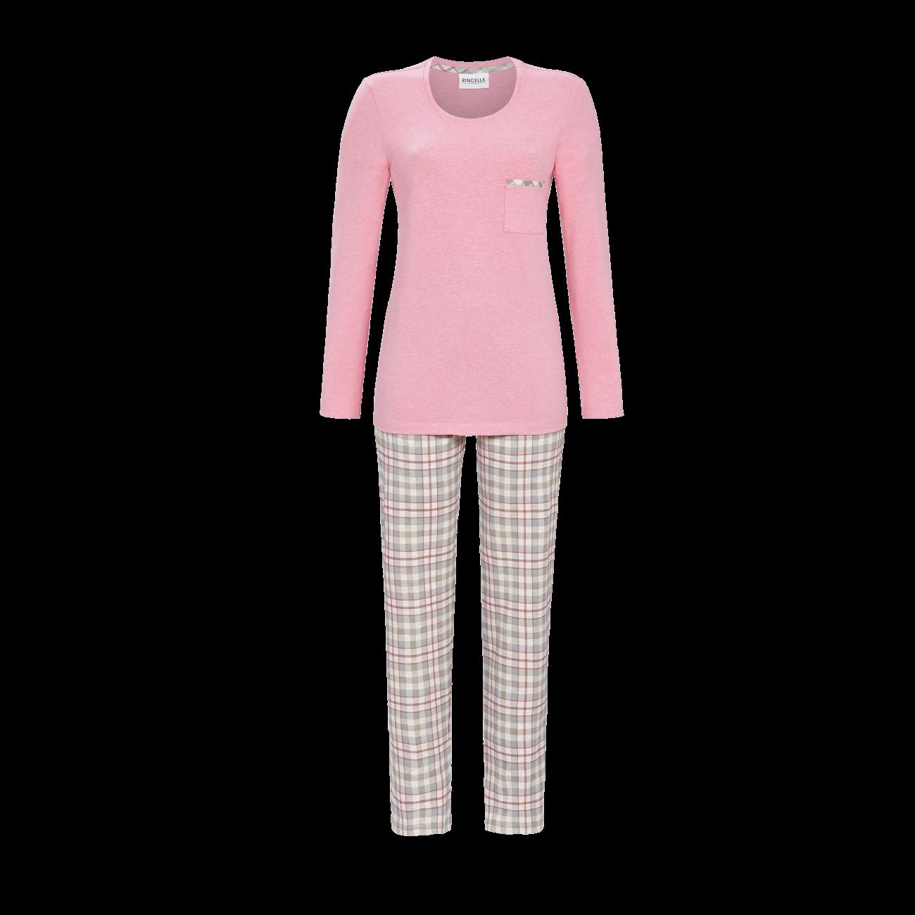 Pyjama mit karierter Hose himbeer-melange | 36