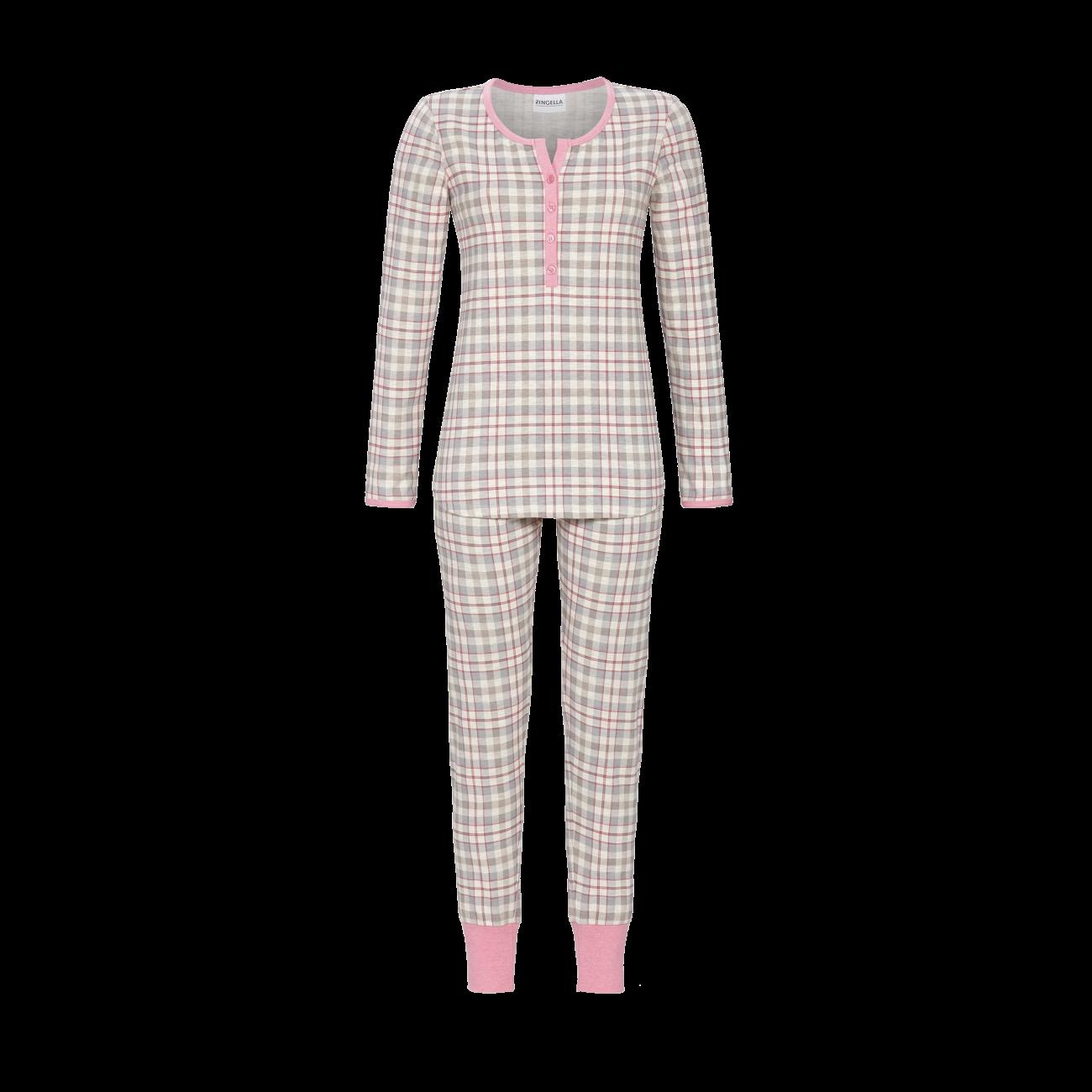 Pyjama im Karo-Dessin natur-melange   36