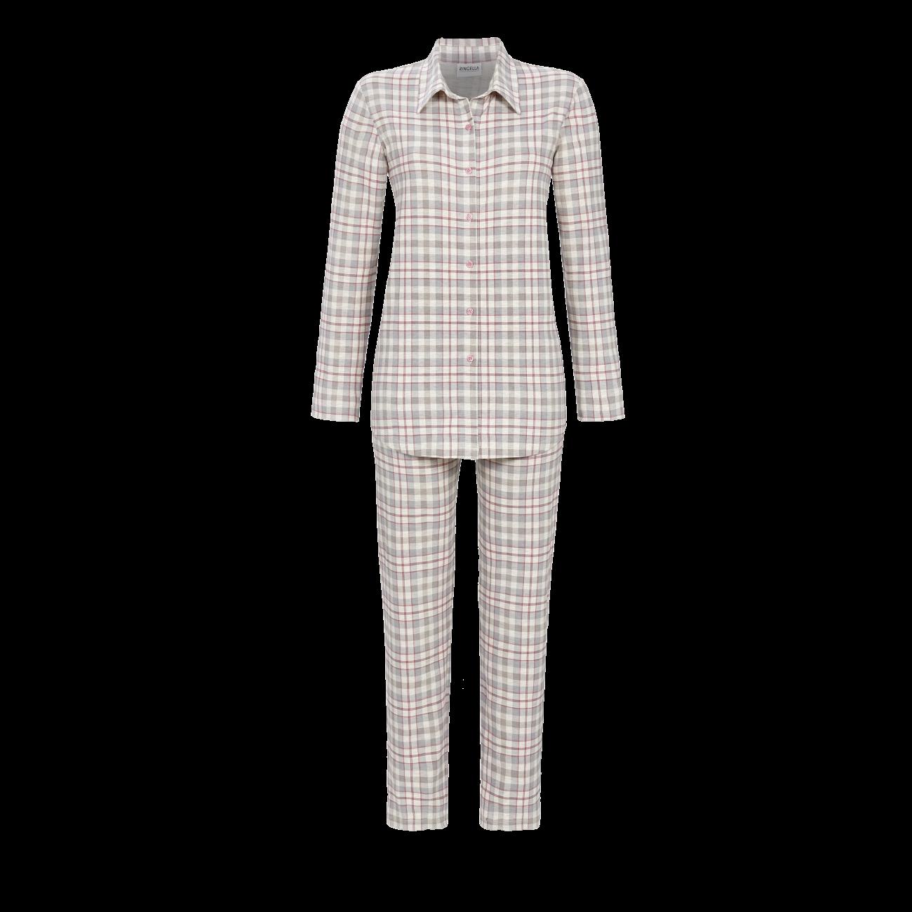 Pyjama mit durchgeknöpftem Oberteil natur-melange   38