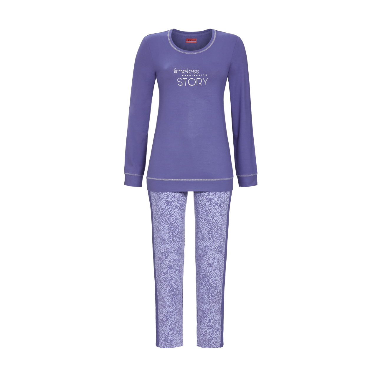 Pyjama mit Motivdruck grey-blue   40