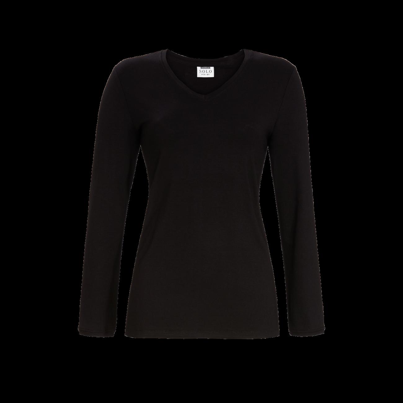 T-Shirt mit V-Ausschnitt schwarz | 38