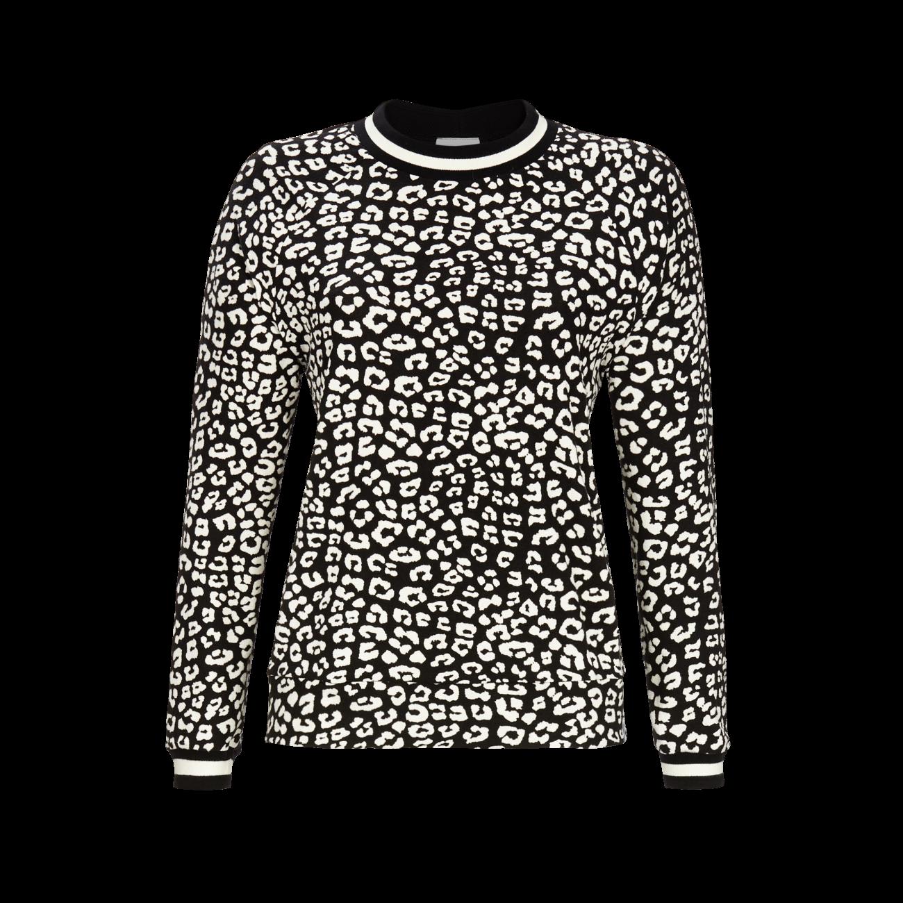 T-Shirt mit Strickbündchen schwarz | 36