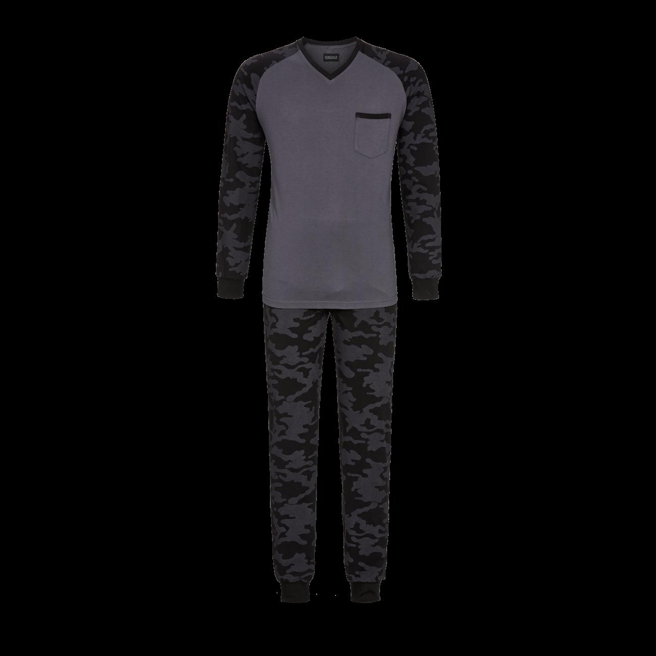 Pyjama mit V-Ausschnitt asphalt   46