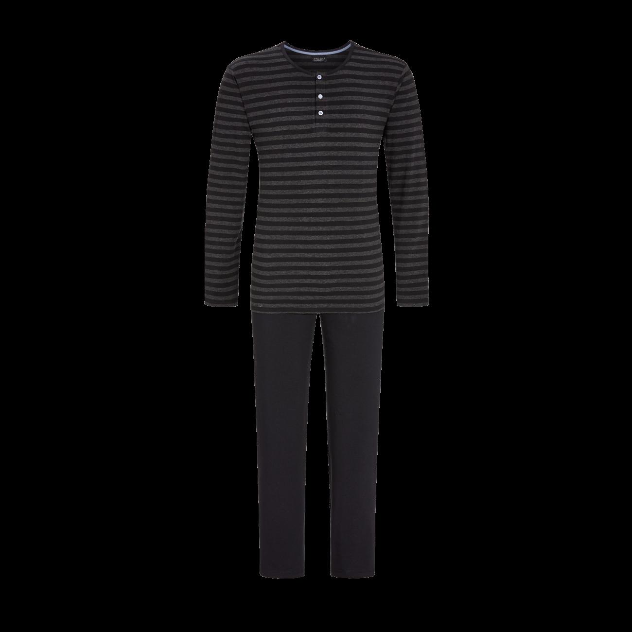 Pyjama mit Knopfleiste schwarz   50