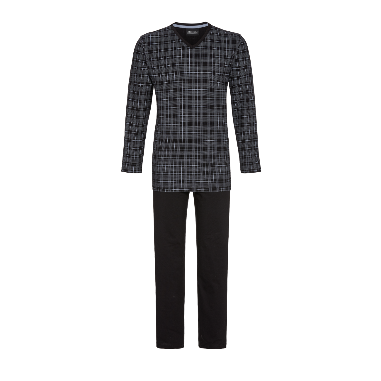 Pyjama mit V-Ausschnitt asphalt   50