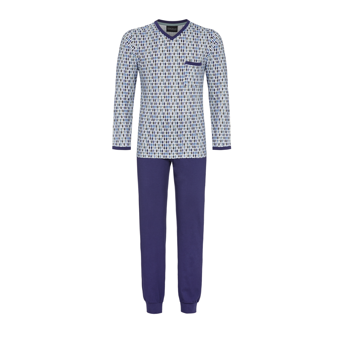Pyjama mit V-Ausschnitt marine | 48