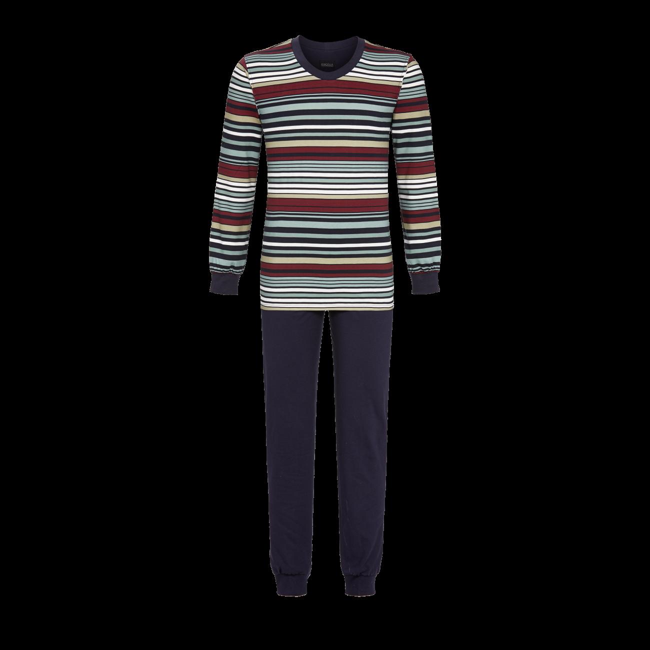 Pyjama mit Strickbündchen dark navy   48
