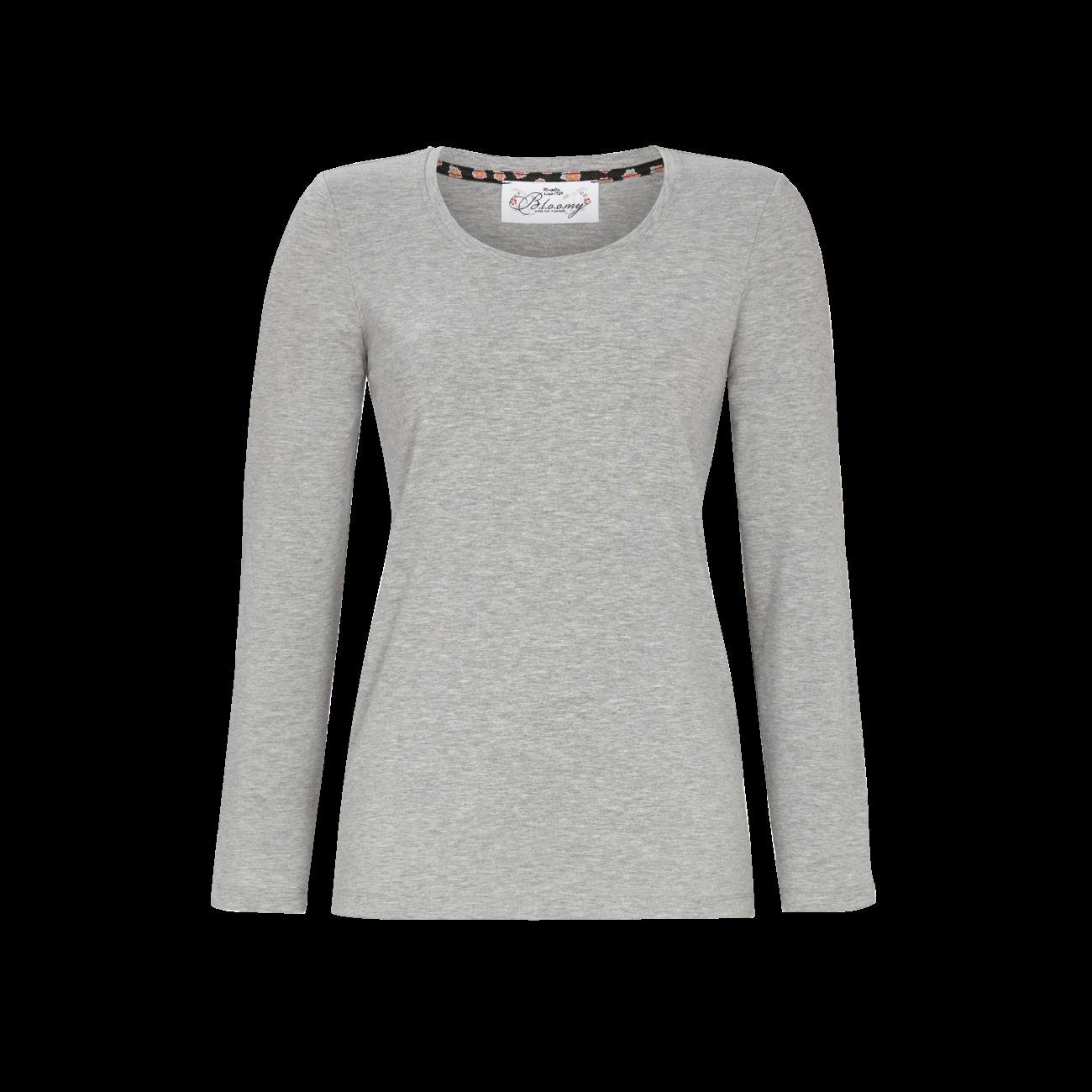 T-Shirt mit Rundhalsausschnitt grau-melange | 36