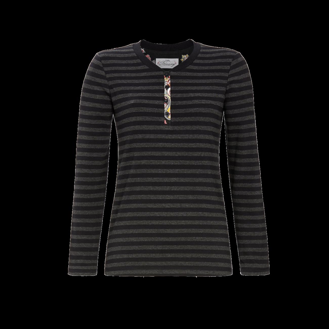 T-Shirt mit Knopfleiste schwarz | 42