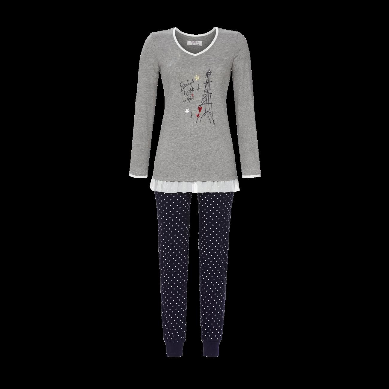 Pyjama mit V-Ausschnitt grau-melange | 36