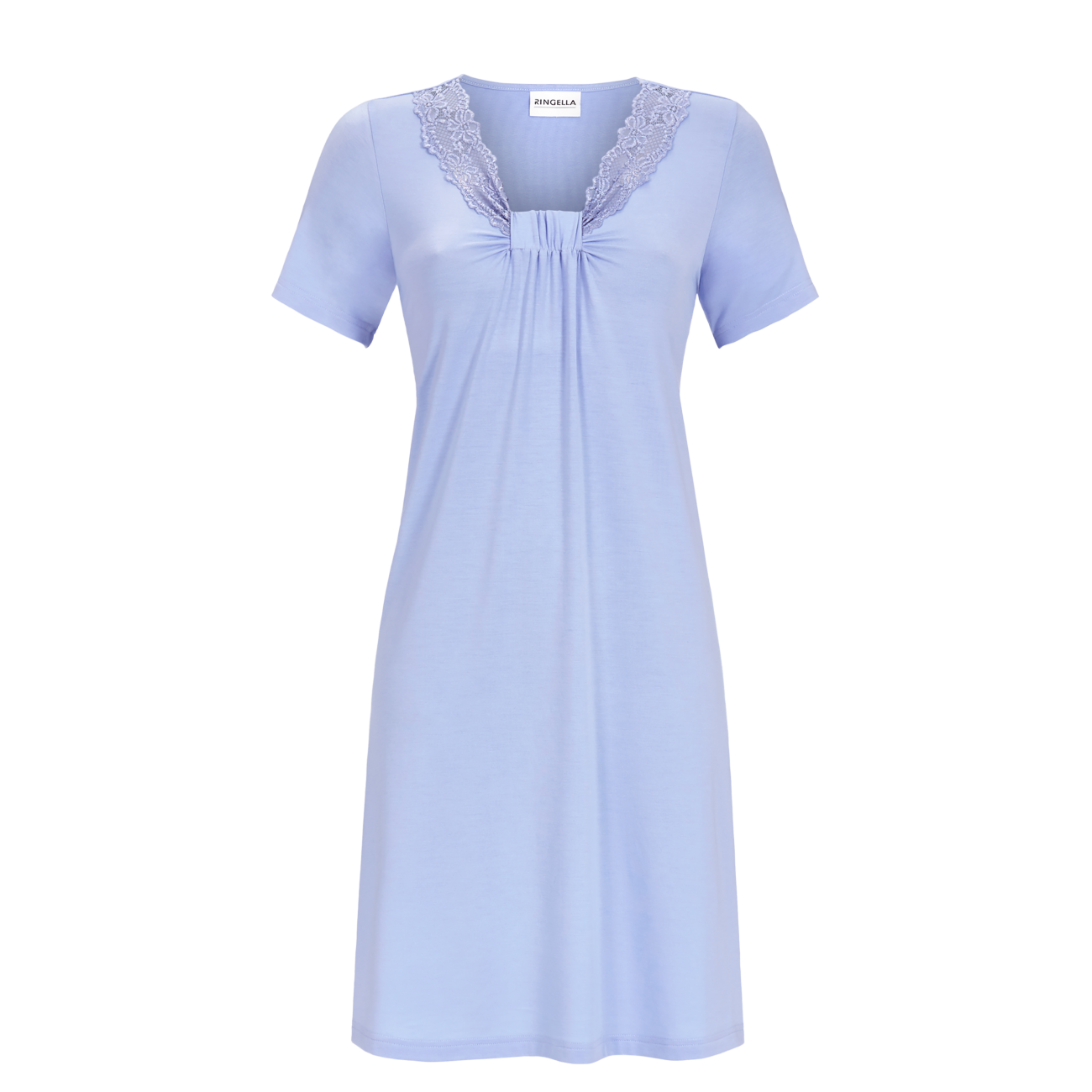 Nachthemd mit Spitze rauchblau | 42