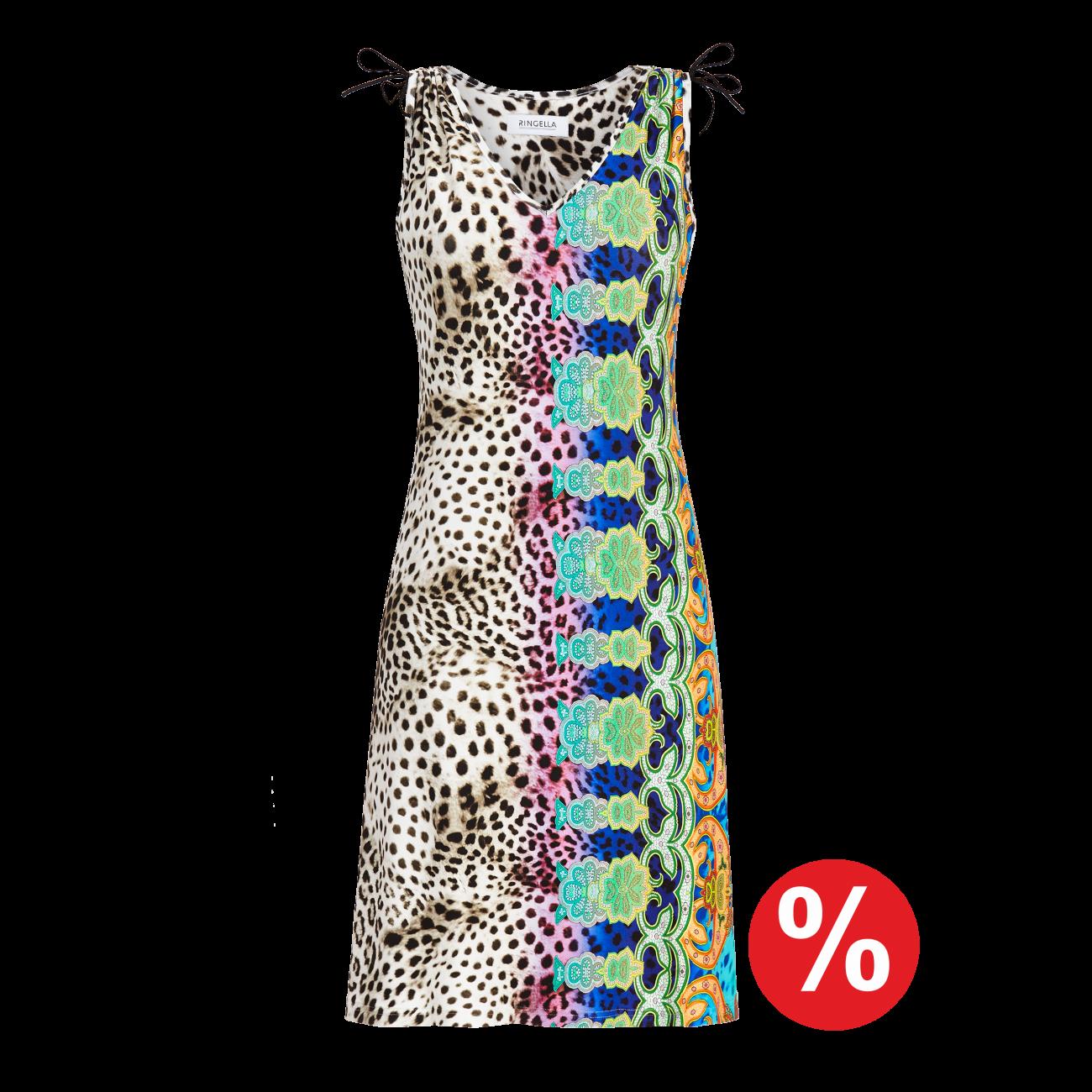 Kleid mit modernem Leoprint bunt | 38