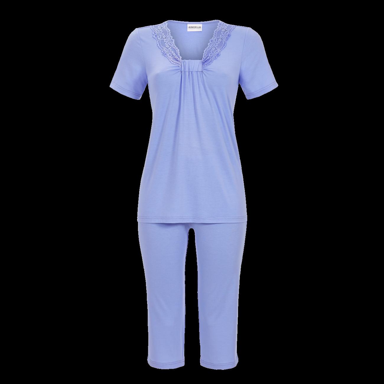 Pyjama mit Caprihose rauchblau | 42