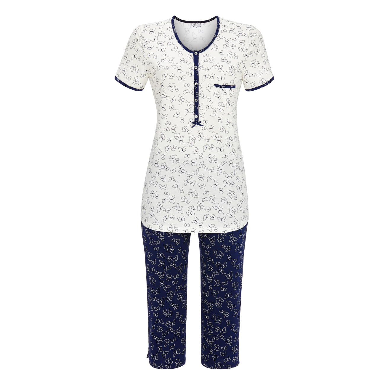 Pyjama mit Caprihose off-white | 36