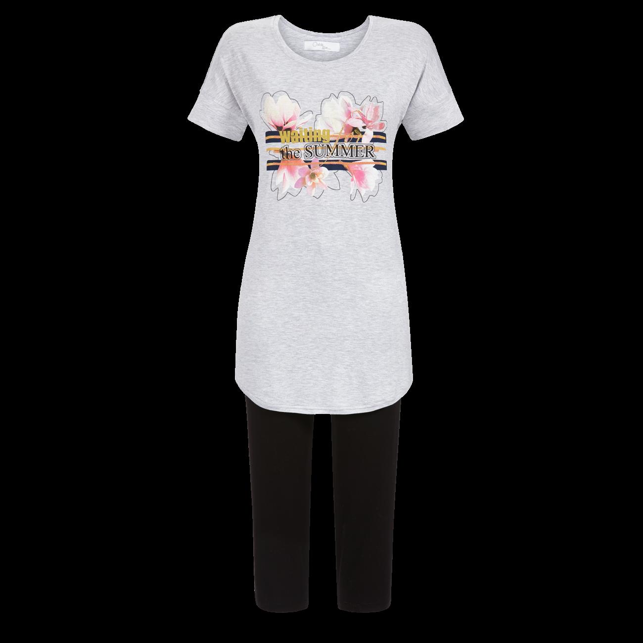 Pyjama mit Caprihose grau-melange | 38