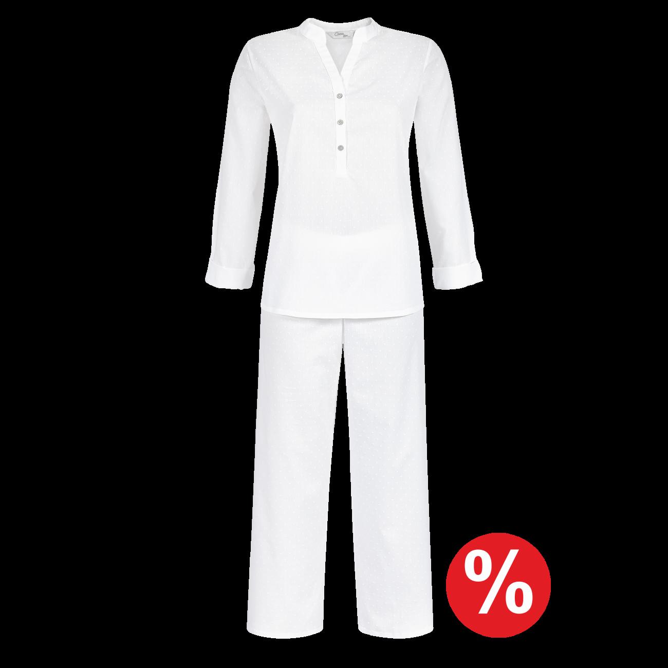 Pyjama mit 7/8 Hose weiss | 36