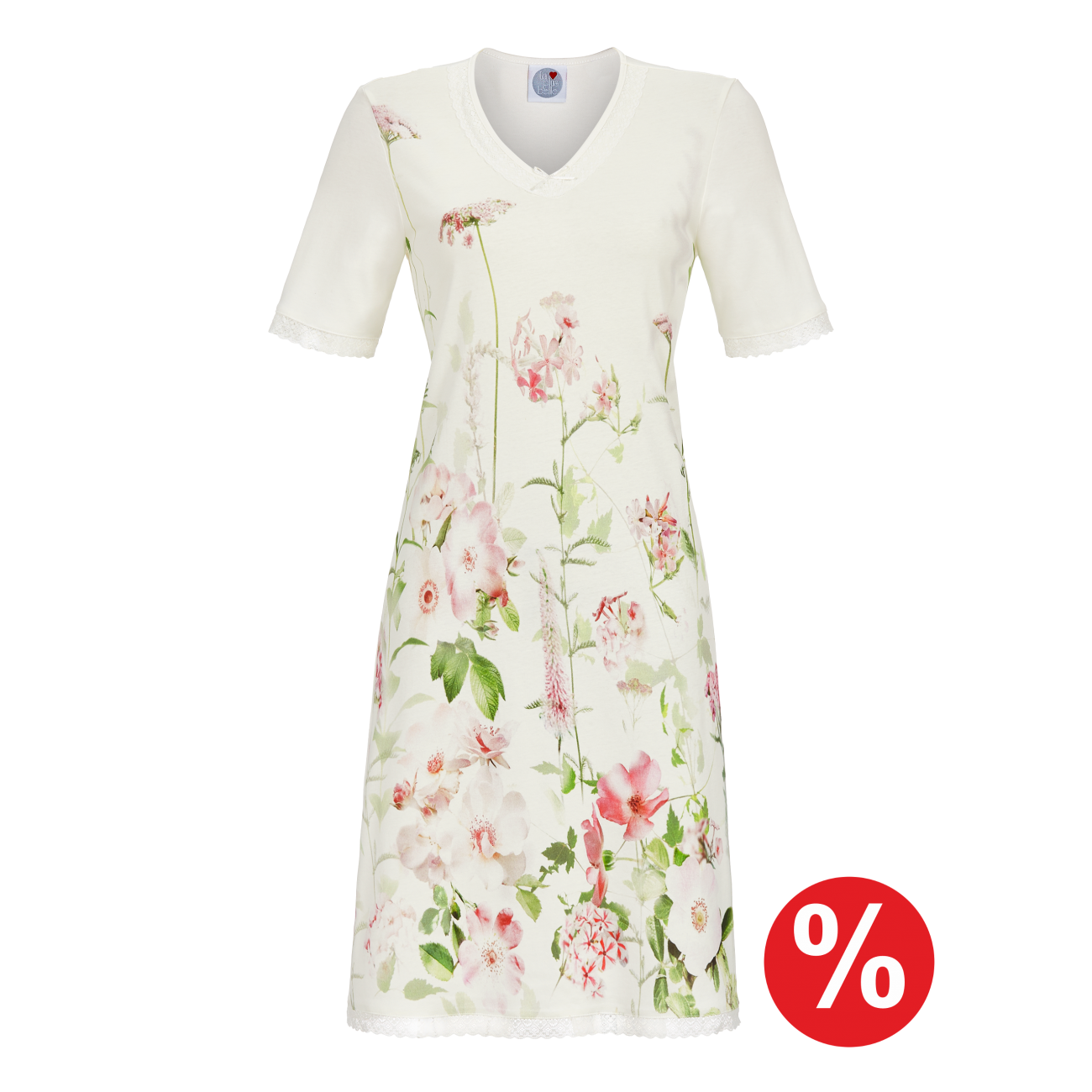Nachthemd mit V-Ausschnitt off-white | 36