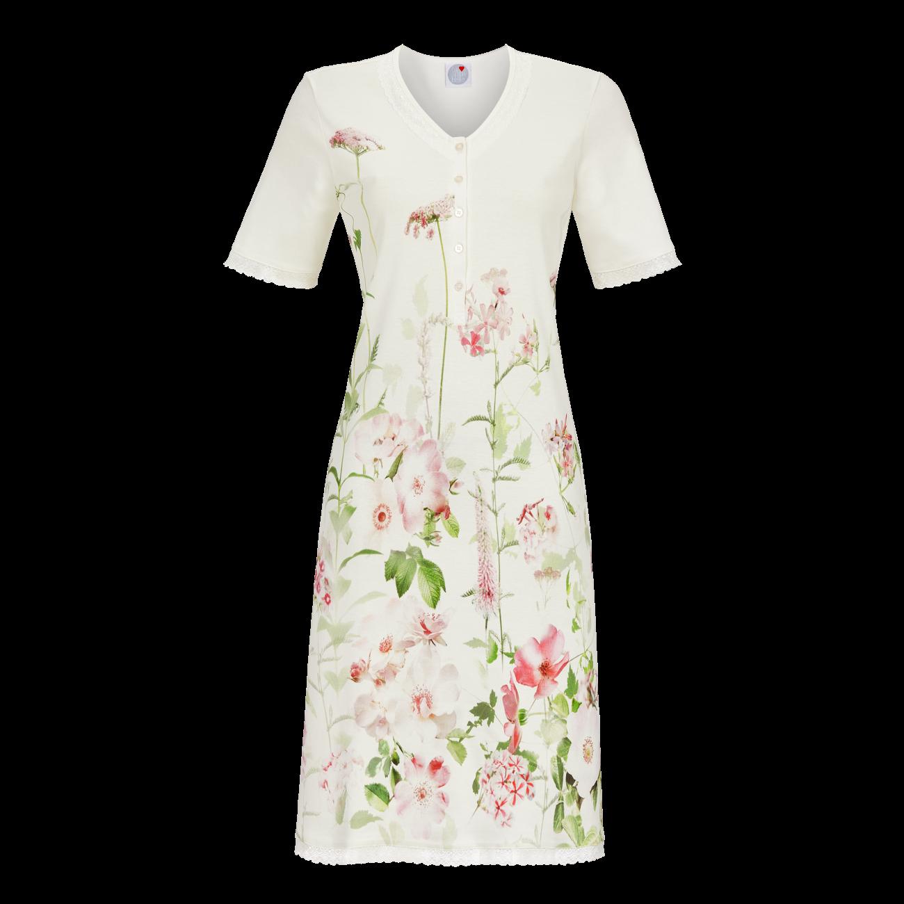 Nachthemd mit Blütendruck off-white | 36
