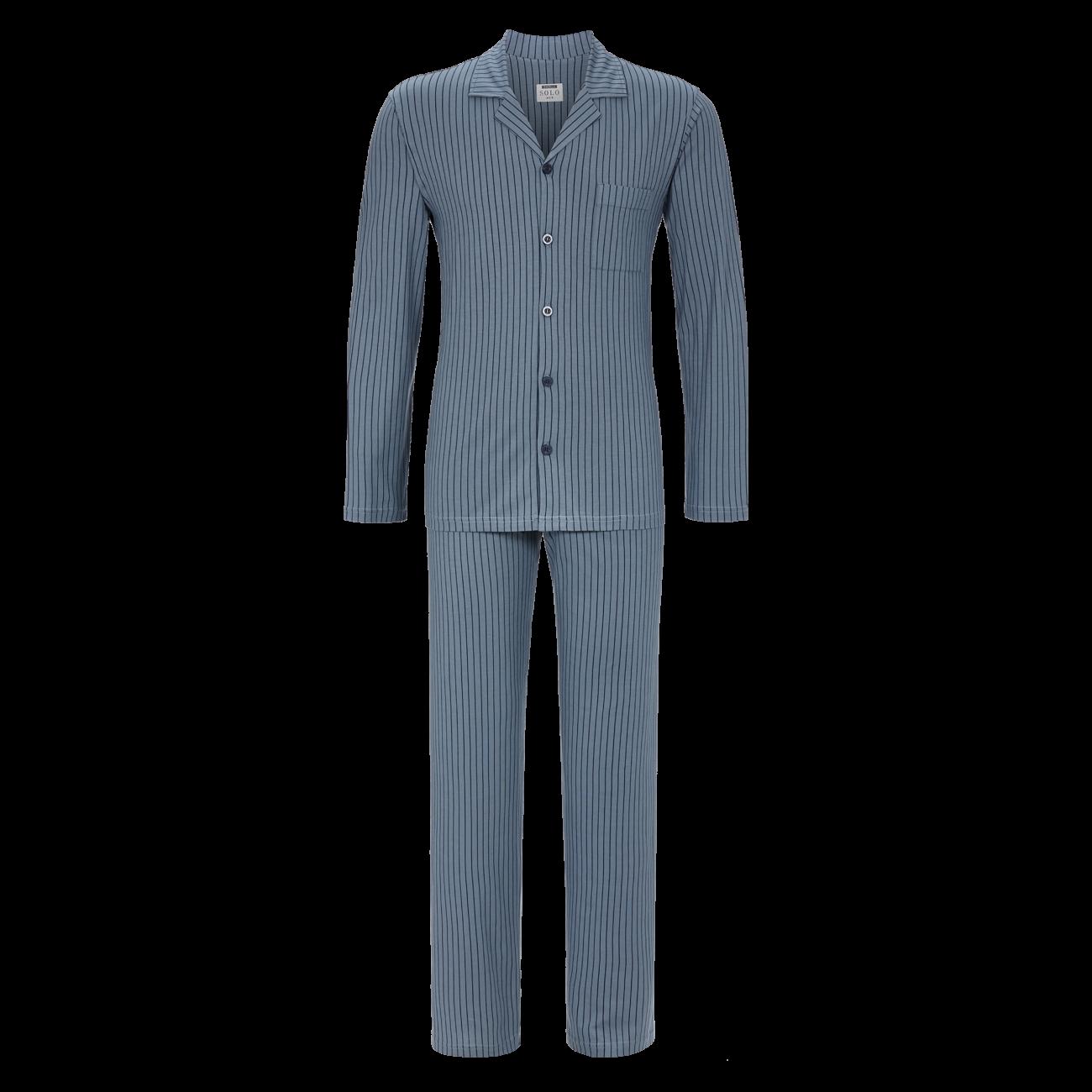Pyjama durchgeknöpft stahlblau | 48