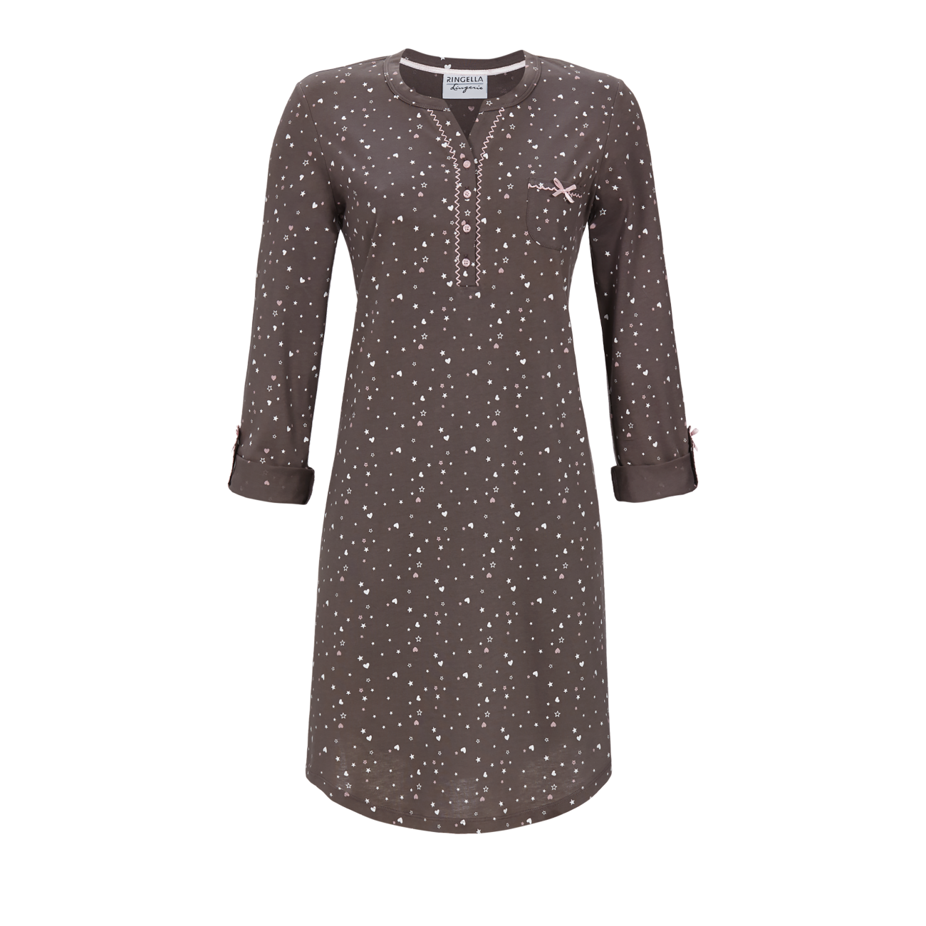 Nachthemd mit Krempelarm charcoal grey | 38