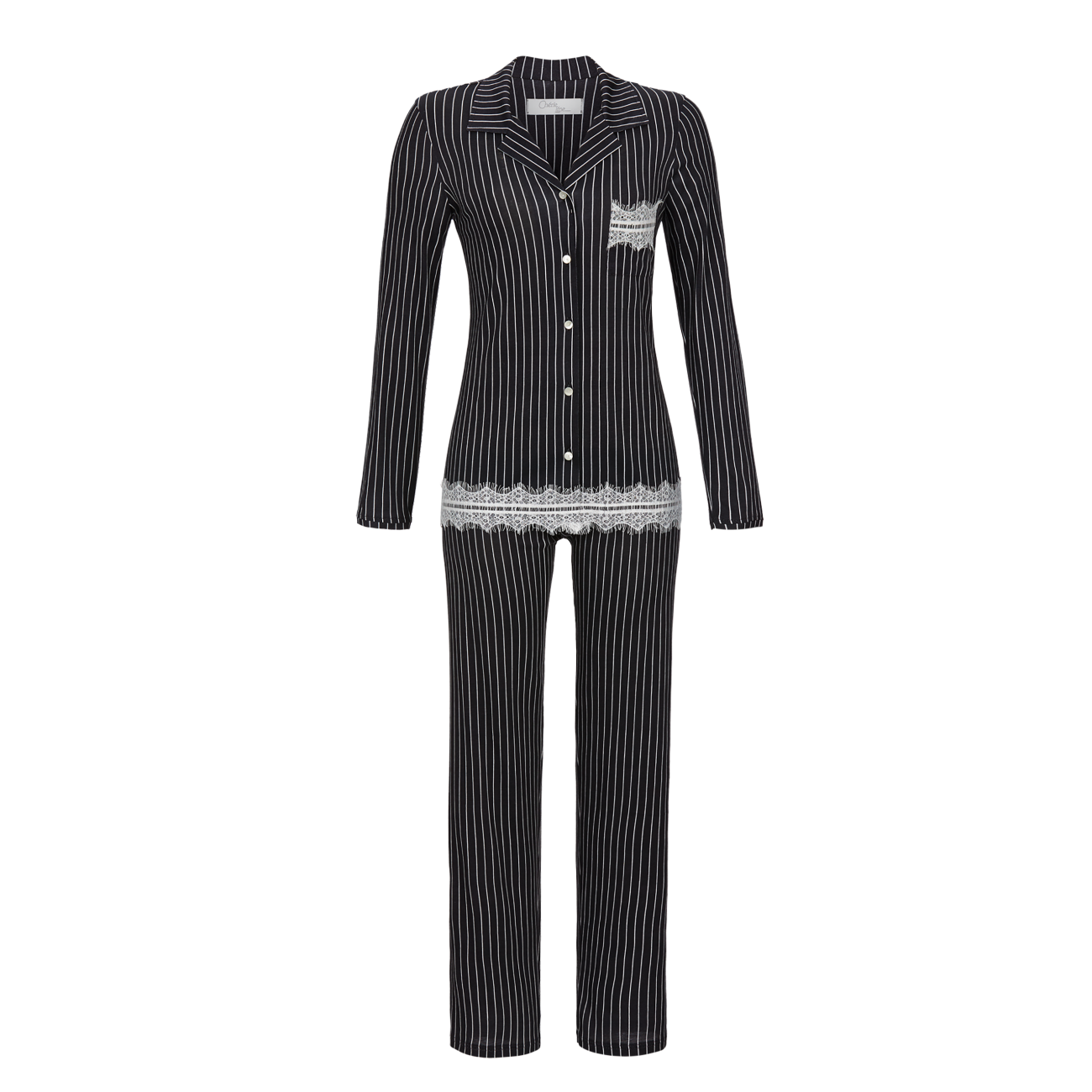 Pyjama mit Nadelstreifen anthrazit | 38